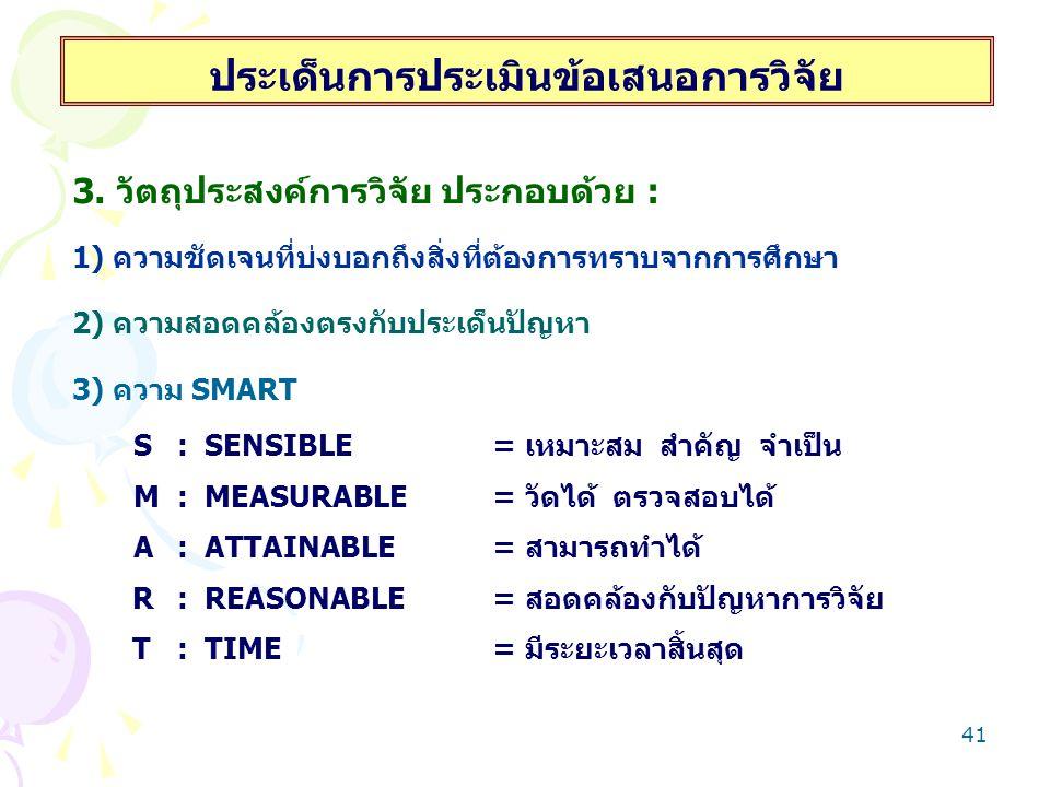 41 ประเด็นการประเมินข้อเสนอการวิจัย 3. วัตถุประสงค์การวิจัย ประกอบด้วย : 1) ความชัดเจนที่บ่งบอกถึงสิ่งที่ต้องการทราบจากการศึกษา 2) ความสอดคล้องตรงกับป