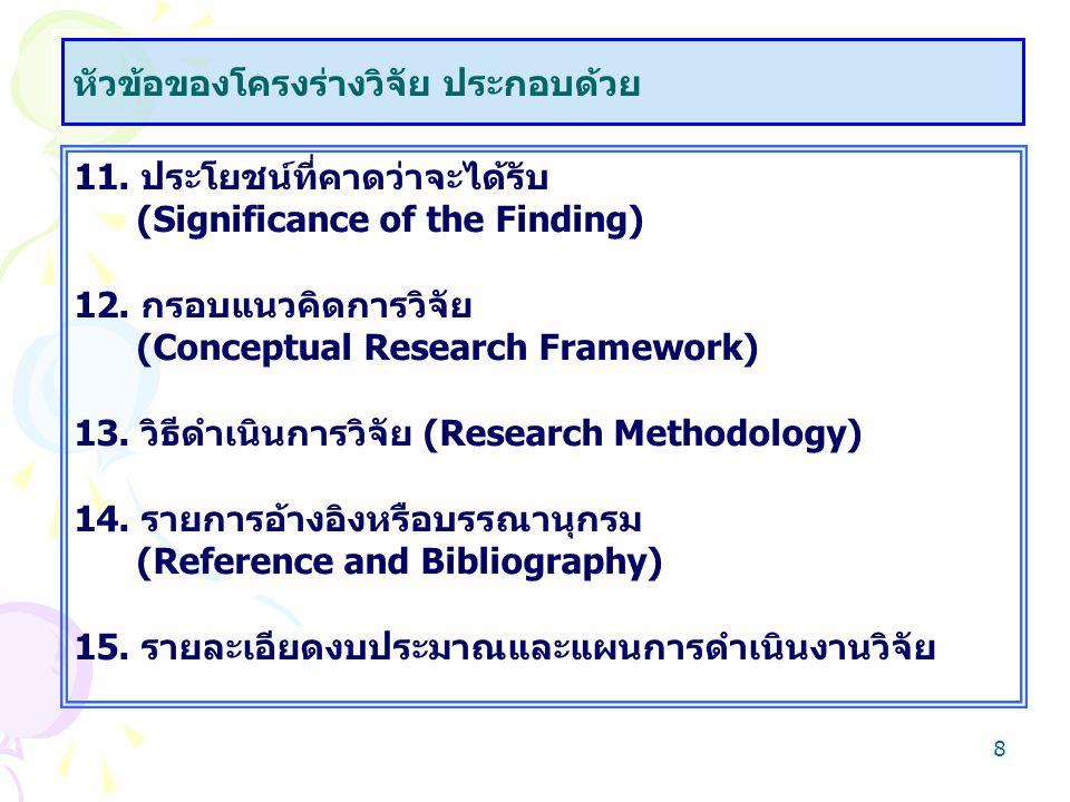 8 11. ประโยชน์ที่คาดว่าจะได้รับ (Significance of the Finding) 12. กรอบแนวคิดการวิจัย (Conceptual Research Framework) 13. วิธีดำเนินการวิจัย (Research