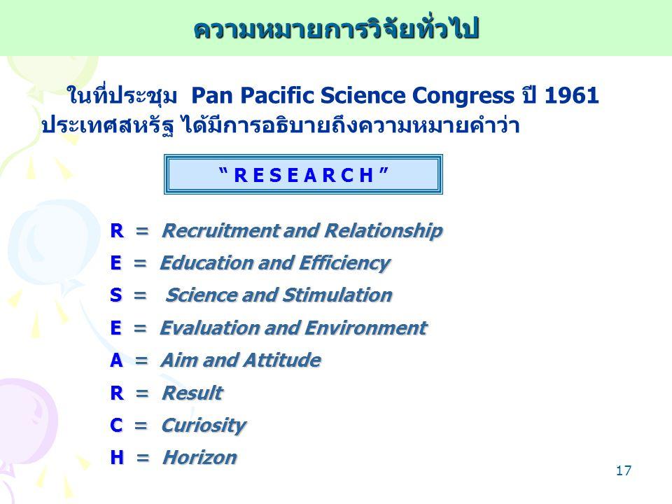 16 สุชาติ ประสิทธิรัฐสินธุ์ (2540) ให้ความหมาย การวิจัย ว่า กระบวนการแสวงหาความรู้ความเข้าใจที่ถูกต้องในสิ่งที่ต้องการ ศึกษา โดยที่มี… - การเก็บรวบรวมข้อมูล - การจัดระเบียบข้อมูล - การวิเคราะห์ข้อมูล - การตีความหมายผลการวิเคราะห์ ทั้งนี้เพื่อให้ได้มาซึ่งคำตอบอันถูกต้อง กระบวนการ = กิจกรรมต่างๆ ที่ได้กระทำขึ้นโดยมีความเกี่ยวโยง ต่อเนื่องกันอย่างมีระบบเพื่อให้บรรลุถึงเป้าหมายความหมายการวิจัยทั่วไป