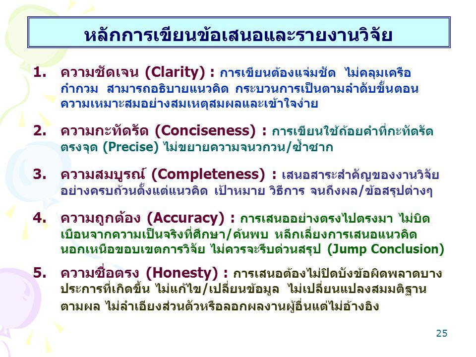 24 การกำหนดยุทธวิธีการวิจัย = Research Design 5) การวิเคราะห์ข้อมูลการวิจัย 5.1) การมาตรวัดตัวแปร : 4 ระดับ 5.2) การเลือกใช้เทคนิคการวิเคราะห์ : ค่าเฉลี่ย : สัดส่วน 5.3) การต้องตอบวัตถุประสงค์วิจัย 5.4) การตอบต้องหาลักษณะหรือค่าใดจากข้อมูล