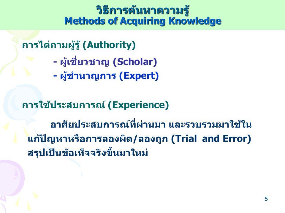 4 ลักษณะของศาสตร์ Sciences วิธีการวิเคราะห์ - เป็นระบบ (Systematic) - เป็นเหตุเป็นผล (Logical) - เป็นวัตถุวิสัย (Objective) จุดประสงค์ศาสตร์ - บรรยาย (Descriptive) - อธิบาย (Explanatory) - ทำนาย (Predictive) ปรากฏการณ์ที่เกิดขึ้น/สังเกต เพื่อ เพื่อ ศาสตร์ : วิธีการวิเคราะห์ที่เป็นระบบ เป็นเหตุเป็นผลและเป็นวัตถุวิสัย ระบบวิชาความรู้ /องค์ความรู้ ระบบวิชาความรู้ /องค์ความรู้ - Content - Method