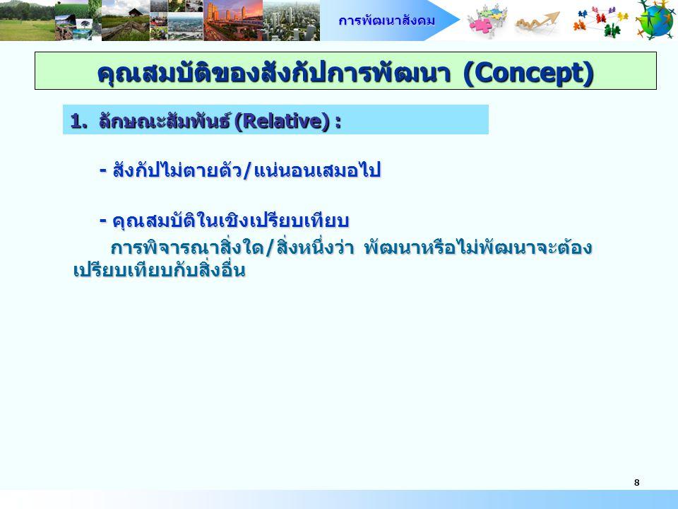 การพัฒนาสังคม 9 รูปแบบลักษณะเชื่อมโยงจุดเริ่มต้นกับจุดหมายปลายทาง หรือ เป้าหมาย คือ การพัฒนาแล้ว (developed-ness) : Development + สภาวะ (State-of-being) + กระบวนการ (Process) คุณสมบัติของสังกัปการพัฒนา (Concept) 2.