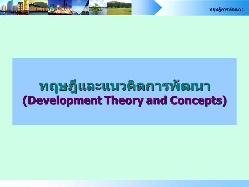 ทฤษฎีการพัฒนา : 2 ทฤษฎีและแนวคิด ทฤษฎีและแนวคิด ความจำเป็นขั้นพื้นฐาน Basic Needs Theory Basic Minimum Needs : BMN