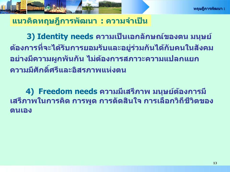 ทฤษฎีการพัฒนา : 13 3) Identity needs ความเป็นเอกลักษณ์ของตน มนุษย์ ต้องการที่จะได้รับการยอมรับและอยู่ร่วมกันได้กับคนในสังคม อย่างมีความผูกพันกัน ไม่ต้