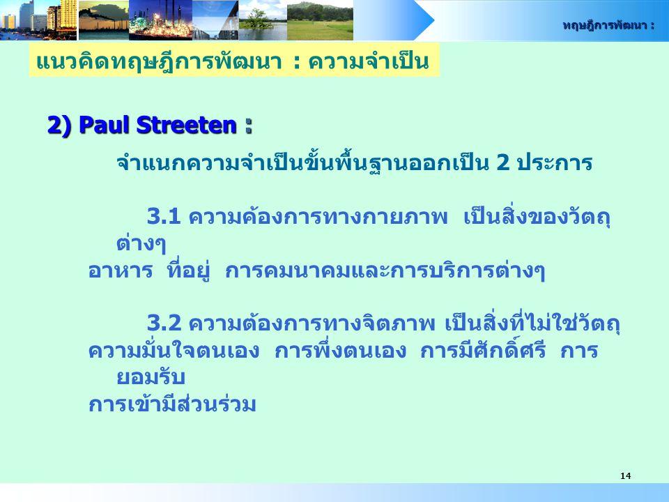 ทฤษฎีการพัฒนา : 14 2) Paul Streeten : จำแนกความจำเป็นขั้นพื้นฐานออกเป็น 2 ประการ 3.1 ความค้องการทางกายภาพ เป็นสิ่งของวัตถุ ต่างๆ อาหาร ที่อยู่ การคมนา