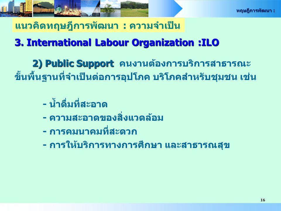 ทฤษฎีการพัฒนา : 16 3. International Labour Organization :ILO 2) Public Support 2) Public Support คนงานต้องการบริการสาธารณะ ขั้นพื้นฐานที่จำเป็นต่อการอ