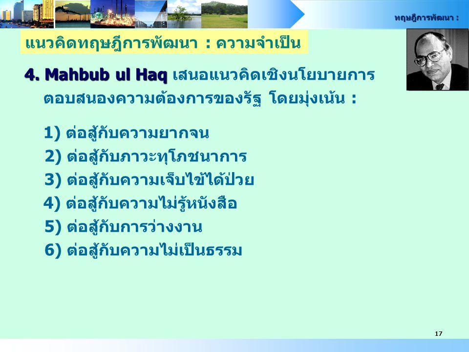 ทฤษฎีการพัฒนา : 17 4. Mahbub ul Haq 4. Mahbub ul Haq เสนอแนวคิดเชิงนโยบายการ ตอบสนองความต้องการของรัฐ โดยมุ่งเน้น : 1) ต่อสู้กับความยากจน 2) ต่อสู้กับ