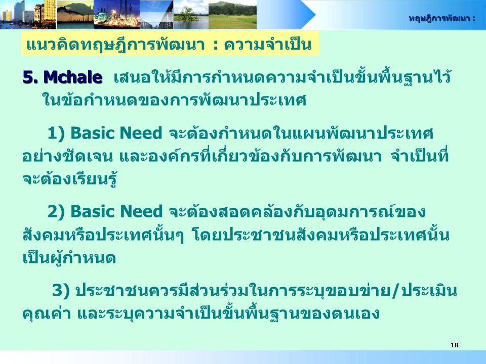 ทฤษฎีการพัฒนา : 18 5. Mchale 5. Mchale เสนอให้มีการกำหนดความจำเป็นขั้นพื้นฐานไว้ ในข้อกำหนดของการพัฒนาประเทศ 1) Basic Need จะต้องกำหนดในแผนพัฒนาประเทศ
