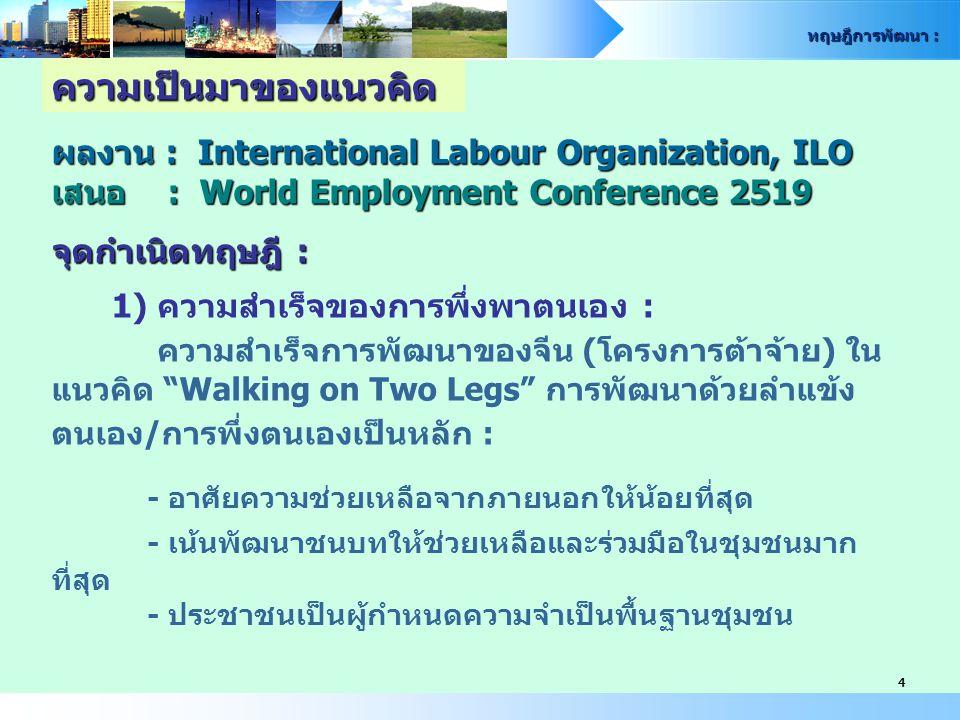 ทฤษฎีการพัฒนา : 4 ผลงาน : International Labour Organization, ILO เสนอ : World Employment Conference 2519 จุดกำเนิดทฤษฎี : 1) ความสำเร็จของการพึ่งพาตนเ