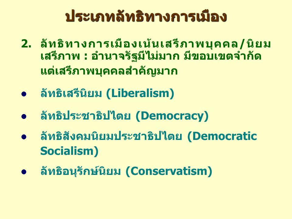 ประเภทลัทธิทางการเมือง 2.ลัทธิทางการเมืองเน้นเสรีภาพบุคคล/นิยม เสรีภาพ : อำนาจรัฐมีไม่มาก มีขอบเขตจำกัด แต่เสรีภาพบุคคลสำคัญมาก ลัทธิเสรีนิยม (Liberalism) ลัทธิประชาธิปไตย (Democracy) ลัทธิสังคมนิยมประชาธิปไตย (Democratic Socialism) ลัทธิอนุรักษ์นิยม (Conservatism)