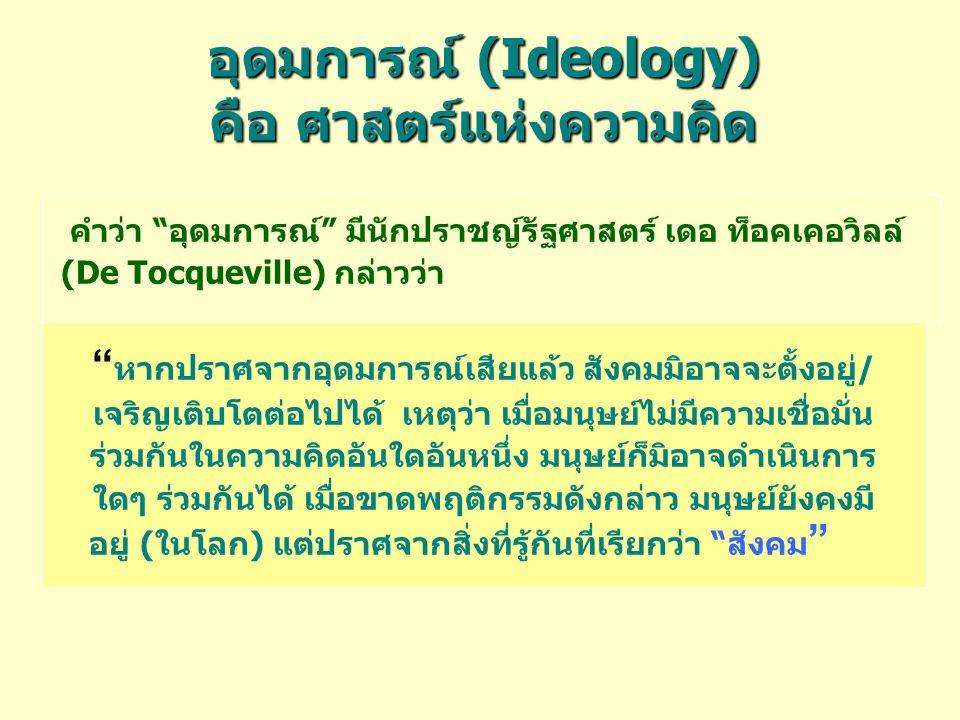 อุดมการณ์ (Ideology) คือ ศาสตร์แห่งความคิด คำว่า อุดมการณ์ มีนักปราชญ์รัฐศาสตร์ เดอ ท็อคเคอวิลล์ (De Tocqueville) กล่าวว่า หากปราศจากอุดมการณ์เสียแล้ว สังคมมิอาจจะตั้งอยู่/ เจริญเติบโตต่อไปได้ เหตุว่า เมื่อมนุษย์ไม่มีความเชื่อมั่น ร่วมกันในความคิดอันใดอันหนึ่ง มนุษย์ก็มิอาจดำเนินการ ใดๆ ร่วมกันได้ เมื่อขาดพฤติกรรมดังกล่าว มนุษย์ยังคงมี อยู่ (ในโลก) แต่ปราศจากสิ่งที่รู้กันที่เรียกว่า สังคม