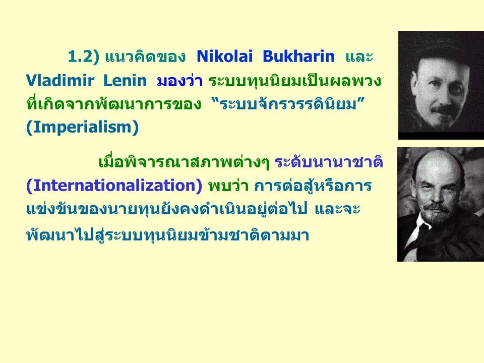 1.2) แนวคิดของ Nikolai Bukharin และ Vladimir Lenin มองว่า ระบบทุนนิยมเป็นผลพวง ที่เกิดจากพัฒนาการของ ระบบจักรวรรดินิยม (Imperialism) เมื่อพิจารณาสภาพต่างๆ ระดับนานาชาติ (Internationalization) พบว่า การต่อสู้หรือการ แข่งขันของนายทุนยังคงดำเนินอยู่ต่อไป และจะ พัฒนาไปสู่ระบบทุนนิยมข้ามชาติตามมา