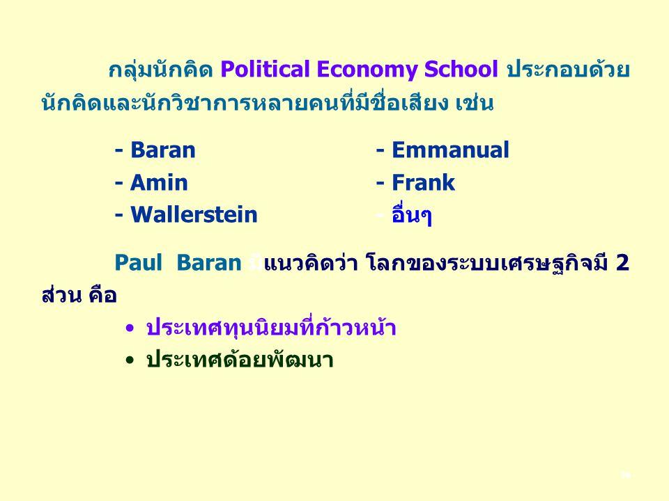 36 กลุ่มนักคิด Political Economy School ประกอบด้วย นักคิดและนักวิชาการหลายคนที่มีชื่อเสียง เช่น - Baran- Emmanual - Amin- Frank - Wallerstein - อื่นๆ Paul Baran มีแนวคิดว่า โลกของระบบเศรษฐกิจมี 2 ส่วน คือ ประเทศทุนนิยมที่ก้าวหน้า ประเทศด้อยพัฒนา