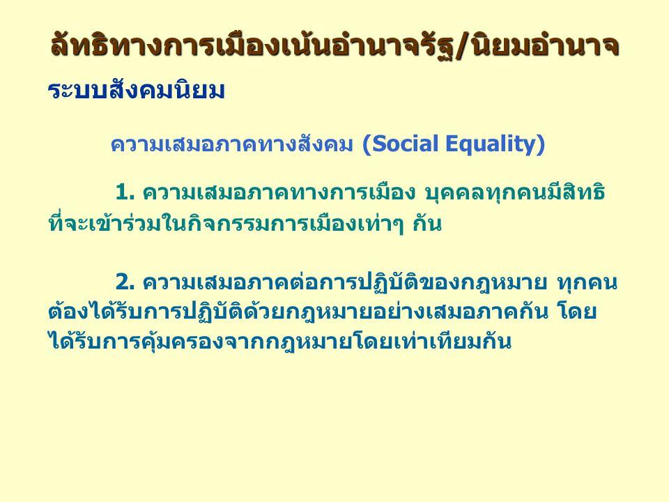 ลัทธิทางการเมืองเน้นอำนาจรัฐ/นิยมอำนาจ ระบบสังคมนิยม ความเสมอภาคทางสังคม (Social Equality) 1.