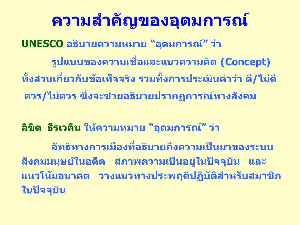 ความสำคัญของอุดมการณ์ UNESCO อธิบายความหมาย อุดมการณ์ ว่า รูปแบบของความเชื่อและแนวความคิด (Concept) ทั้งส่วนเกี่ยวกับข้อเท็จจริง รวมทั้งการประเมินค่าว่า ดี / ไม่ดี ควร / ไม่ควร ซึ่งจะช่วยอธิบายปรากฏการณ์ทางสังคม ลิขิต ธีรเวคิน ให้ความหมาย อุดมการณ์ ว่า ลัทธิทางการเมืองที่อธิบายถึงความเป็นมาของระบบ สังคมมนุษย์ในอดีต สภาพความเป็นอยู่ในปัจจุบัน และ แนวโน้มอนาคต วางแนวทางประพฤติปฏิบัติสำหรับสมาชิก ในปัจจุบัน