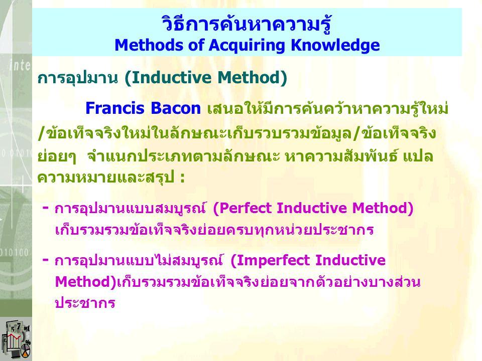 การอนุมาน (Deductive Method/ Syllogism/ Deductive Logic/ Inside-out Method) Aristotle นำวิธีการมาค้นหาความรู้/ข้อเท็จจริง โดยใช้ เหตุผล ด้วยการอ้างข้อ
