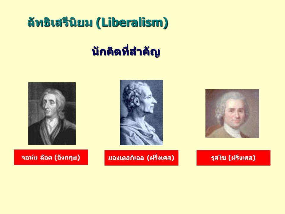 ลัทธิเสรีนิยม (Liberalism) ลัทธิเสรีนิยม (Liberalism) จอห์น ล๊อค (อังกฤษ) มองเตสกิเออ (ฝรั่งเศส)รุสโซ (ฝรั่งเศส) นักคิดที่สำคัญ