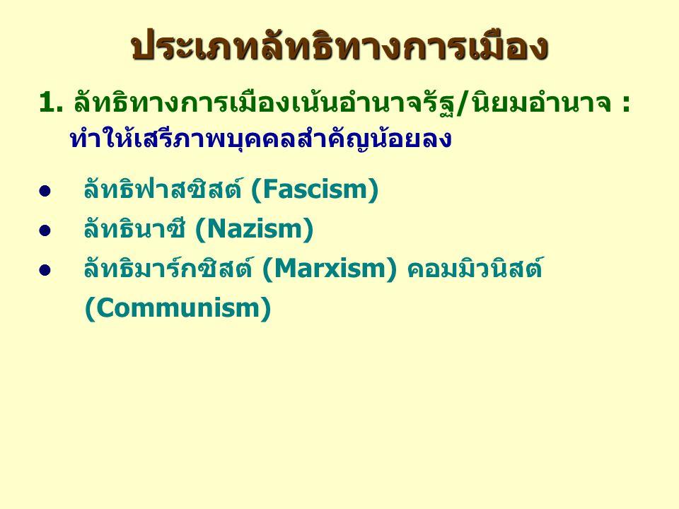 ประเภทลัทธิทางการเมือง 1. ลัทธิทางการเมืองเน้นอำนาจรัฐ/นิยมอำนาจ : ทำให้เสรีภาพบุคคลสำคัญน้อยลง ลัทธิฟาสซิสต์ (Fascism) ลัทธินาซี (Nazism) ลัทธิมาร์กซ