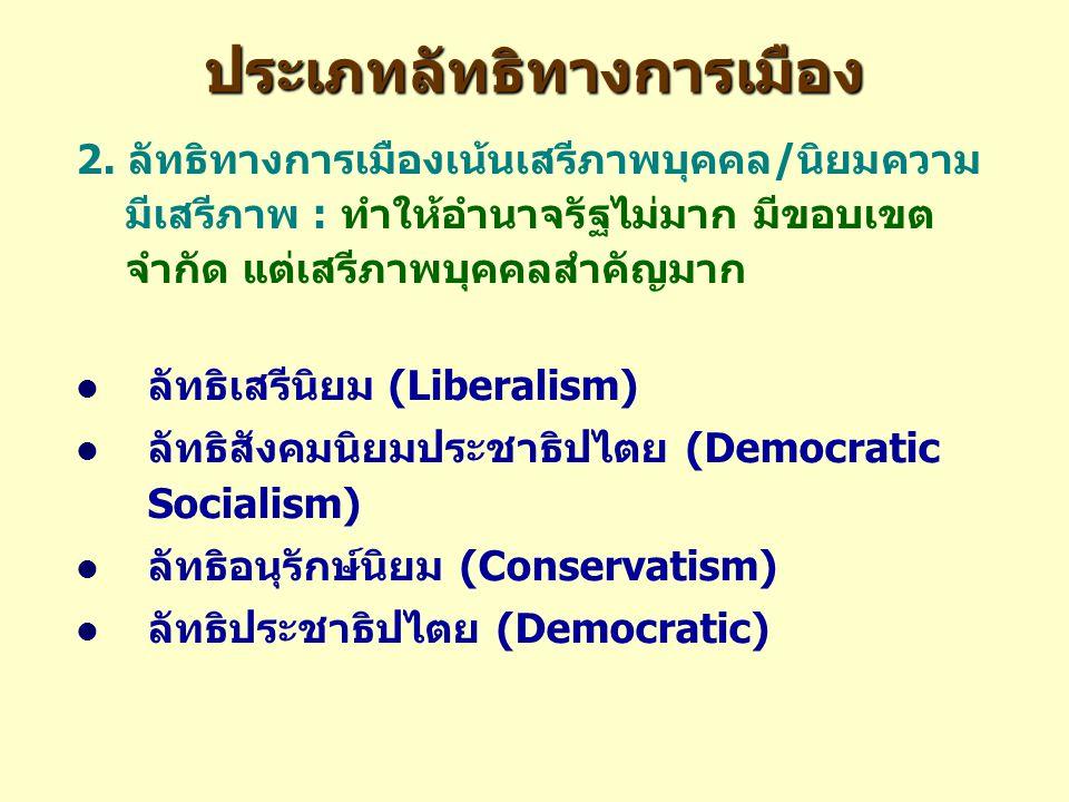 ประเภทลัทธิทางการเมือง 2. ลัทธิทางการเมืองเน้นเสรีภาพบุคคล/นิยมความ มีเสรีภาพ : ทำให้อำนาจรัฐไม่มาก มีขอบเขต จำกัด แต่เสรีภาพบุคคลสำคัญมาก ลัทธิเสรีนิ
