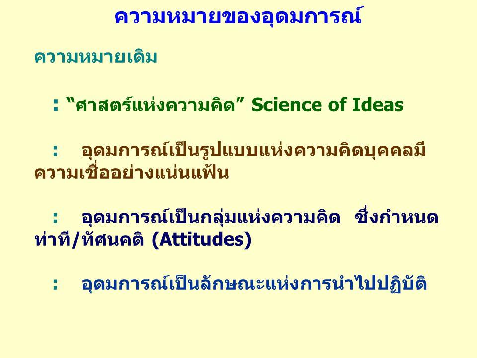 """ความหมายเดิม : """"ศาสตร์แห่งความคิด"""" Science of Ideas :อุดมการณ์เป็นรูปแบบแห่งความคิดบุคคลมี ความเชื่ออย่างแน่นแฟ้น :อุดมการณ์เป็นกลุ่มแห่งความคิด ซึ่งก"""