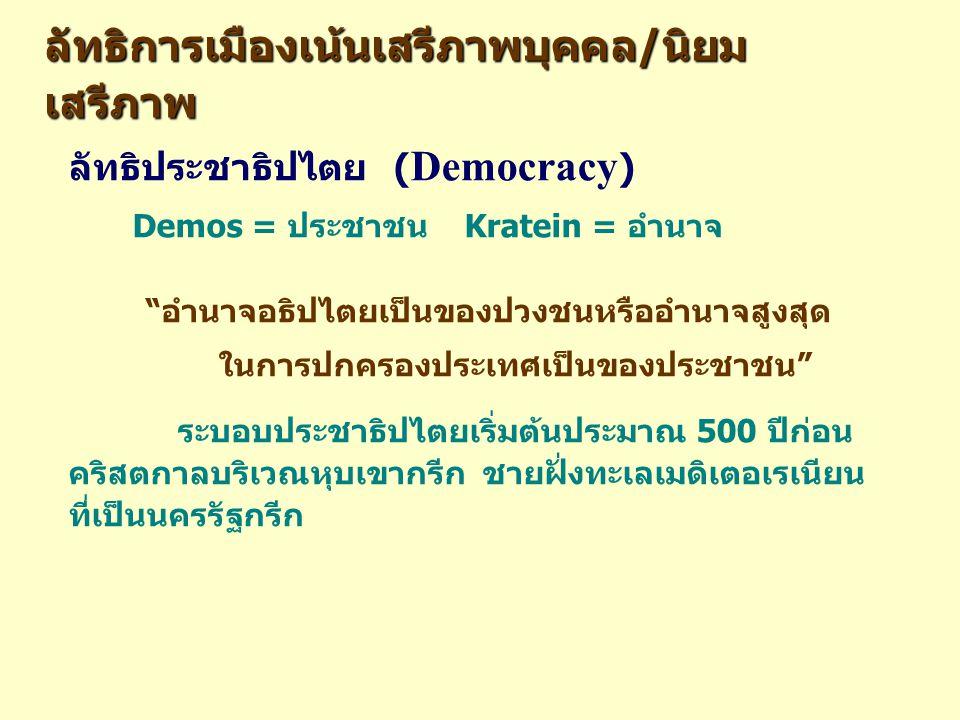 ลัทธิประชาธิปไตย ( Democracy ) Demos = ประชาชน Kratein = อำนาจ อำนาจอธิปไตยเป็นของปวงชนหรืออำนาจสูงสุด ในการปกครองประเทศเป็นของประชาชน ระบอบประชาธิปไตยเริ่มต้นประมาณ 500 ปีก่อน คริสตกาลบริเวณหุบเขากรีก ชายฝั่งทะเลเมดิเตอเรเนียน ที่เป็นนครรัฐกรีก ลัทธิการเมืองเน้นเสรีภาพบุคคล/นิยม เสรีภาพ