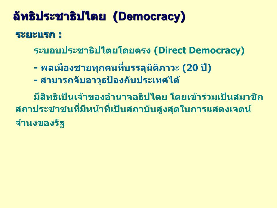 ระยะแรก : ระบอบประชาธิปไตยโดยตรง (Direct Democracy) - พลเมืองชายทุกคนที่บรรลุนิติภาวะ (20 ปี) - สามารถจับอาวุธป้องกันประเทศได้ มีสิทธิเป็นเจ้าของอำนาจอธิปไตย โดยเข้าร่วมเป็นสมาชิก สภาประชาชนที่มีหน้าที่เป็นสถาบันสูงสุดในการแสดงเจตน์ จำนงของรัฐ ลัทธิประชาธิปไตย ( Democracy )