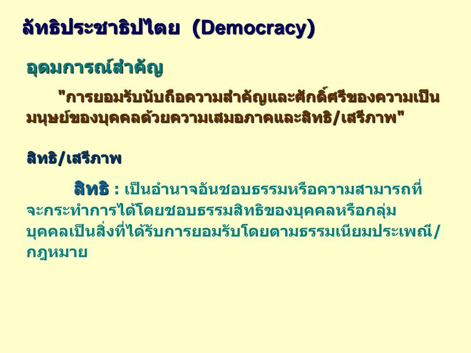อุดมการณ์สำคัญ การยอมรับนับถือความสำคัญและศักดิ์ศรีของความเป็นมนุษย์ของบุคคลด้วยความเสมอภาคและสิทธิ/เสรีภาพ ลัทธิประชาธิปไตย ( Democracy ) สิทธิ/เสรีภาพ สิทธิ สิทธิ : เป็นอำนาจอันชอบธรรมหรือความสามารถที่ จะกระทำการได้โดยชอบธรรมสิทธิของบุคคลหรือกลุ่ม บุคคลเป็นสิ่งที่ได้รับการยอมรับโดยตามธรรมเนียมประเพณี/ กฎหมาย