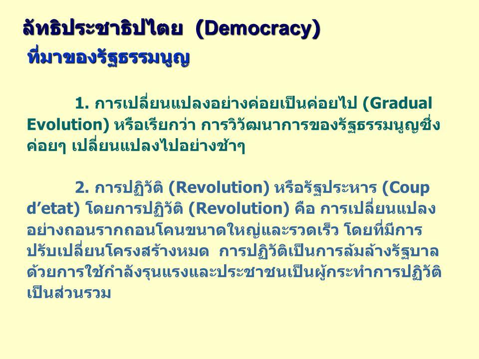 ลัทธิประชาธิปไตย ( Democracy ) ที่มาของรัฐธรรมนูญ 1. การเปลี่ยนแปลงอย่างค่อยเป็นค่อยไป (Gradual Evolution) หรือเรียกว่า การวิวัฒนาการของรัฐธรรมนูญซึ่ง