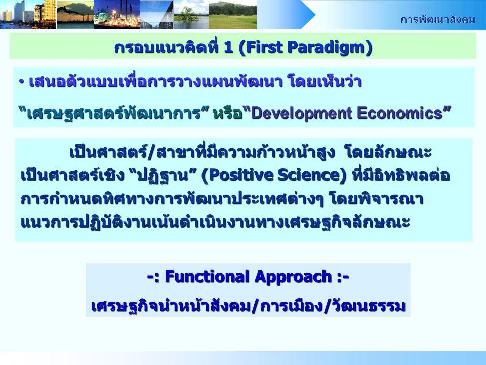 การพัฒนาสังคม เสนอตัวแบบเพื่อการวางแผนพัฒนา โดยเห็นว่า เสนอตัวแบบเพื่อการวางแผนพัฒนา โดยเห็นว่า เศรษฐศาสตร์พัฒนาการ หรือ Development Economics เป็นศาสตร์/สาขาที่มีความก้าวหน้าสูง โดยลักษณะ เป็นศาสตร์เชิง ปฏิฐาน (Positive Science) ที่มีอิทธิพลต่อ การกำหนดทิศทางการพัฒนาประเทศต่างๆ โดยพิจารณา แนวการปฏิบัติงานเน้นดำเนินงานทางเศรษฐกิจลักษณะ -: Functional Approach :- เศรษฐกิจนำหน้าสังคม/การเมือง/วัฒนธรรม กรอบแนวคิดที่ 1 (First Paradigm)