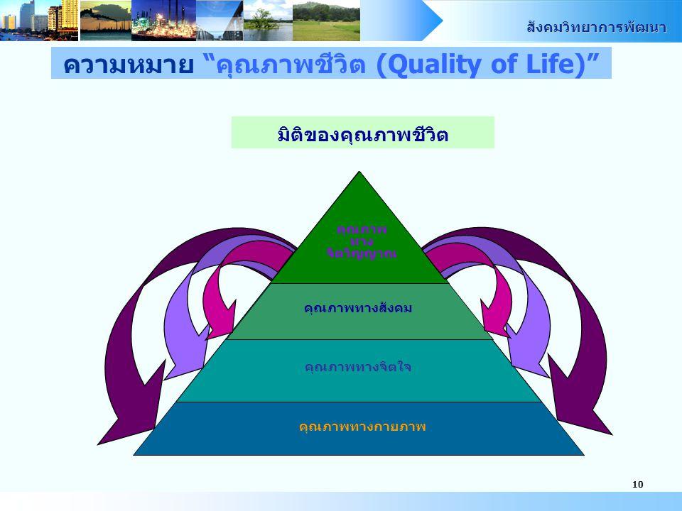 สังคมวิทยาการพัฒนา 10 มิติของคุณภาพชีวิต คุณภาพทางจิตใจ คุณภาพ ทาง จิตวิญญาณ คุณภาพทางสังคม คุณภาพทางกายภาพ ความหมาย คุณภาพชีวิต (Quality of Life)