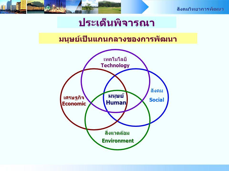 สังคมวิทยาการพัฒนา มนุษย์เป็นแกนกลางของการพัฒนา ประเด็นพิจารณา เศรษฐกิจ Economic สิ่งแวดล้อม Environment สังคม Social มนุษย์ Human เทคโนโลยี Technology