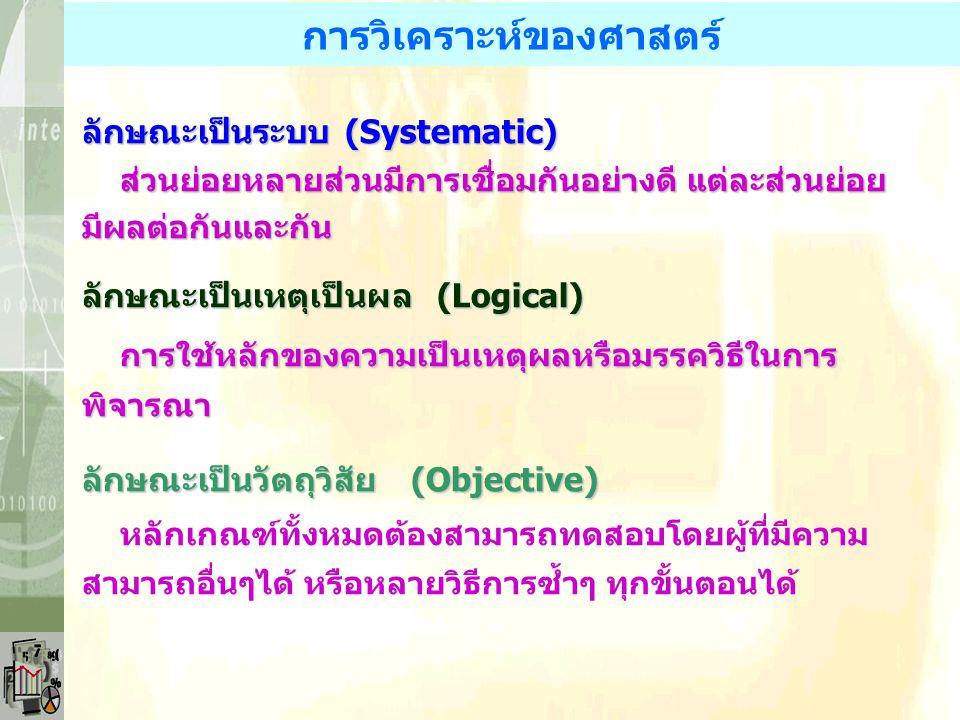 ลักษณะของศาสตร์ (Science) วิธีการวิเคราะห์ - เป็นระบบ (Systematic) - เป็นเหตุเป็นผล (Logical) - เป็นวัตถุวิสัย (Objective) จุดประสงค์ศาสตร์ จุดประสงค์