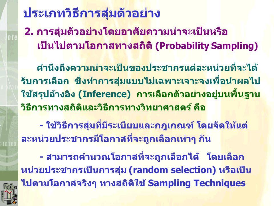 ประเภทวิธีการสุ่มตัวอย่าง แบบการสุ่มตัวอย่างโดยไม่อาศัยความน่าจะเป็นหรือไม่ เป็นไปตามโอกาสทางสถิติ (Non-Probability Sampling) - การสุ่มตัวอย่างแบบบังเ
