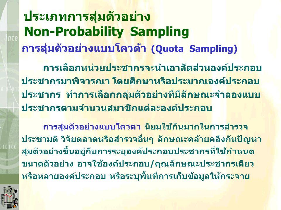 ประเภทการสุ่มตัวอย่าง Non-Probability Sampling การสุ่มตัวอย่างแบบบังเอิญ (Accidental Sampling) การเลือกหน่วยประชากรแบบอิสระ ไม่กฏเกณฑ์แน่นอน โดยไม่คำน