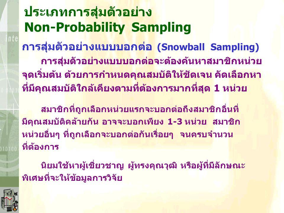 ประเภทการสุ่มตัวอย่าง Non-Probability Sampling การสุ่มตัวอย่างแบบเจาะจง (Purposive Sampling) การเลือกกลุ่มตัวอย่างแบบเจาะจงต้องอาศัยความรอบรู้ ความชำน