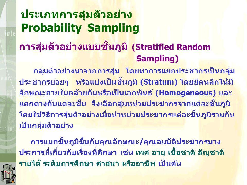 ประเภทการสุ่มตัวอย่าง Probability Sampling การสุ่มตัวอย่างแบบเป็นระบบ (Systematic Random Sampling) Ex : ทำการสุ่มเลือกเลขขึ้นมา 1 ตัว สมมติเป็น 3 หน่ว