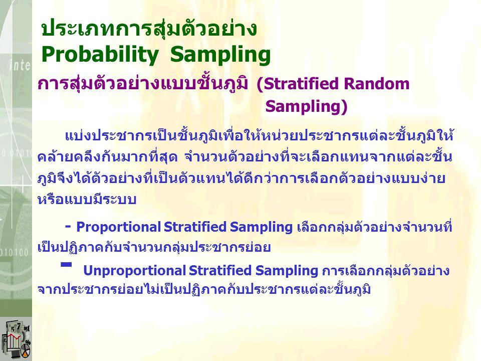 ประเภทการสุ่มตัวอย่าง Probability Sampling การสุ่มตัวอย่างแบบชั้นภูมิ (Stratified Random Sampling) กลุ่มตัวอย่างมาจากการสุ่ม โดยทำการแยกประชากรเป็นกลุ