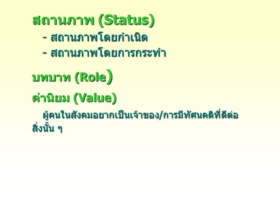 สถานภาพ (Status) - สถานภาพโดยกำเนิด - สถานภาพโดยการกระทำ บทบาท (Role ) ค่านิยม (Value) ผู้คนในสังคมอยากเป็นเจ้าของ/การมีทัศนคติที่ดีต่อ สิ่งนั้น ๆ