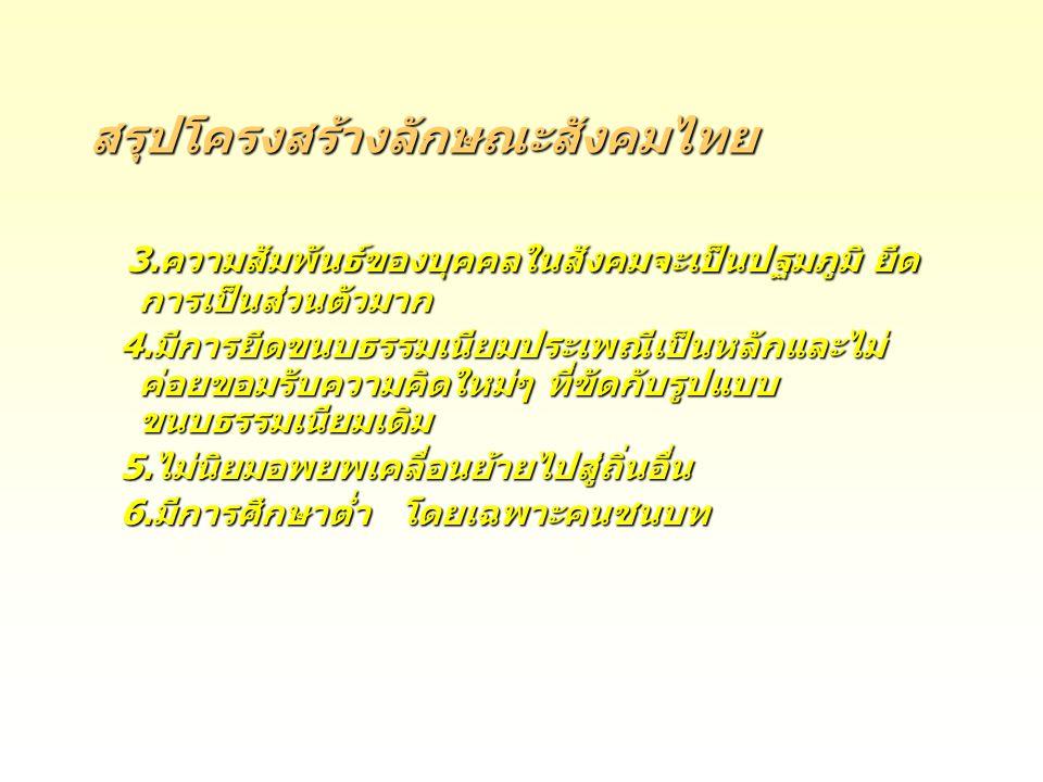 สรุปโครงสร้างลักษณะสังคมไทย 3.ความสัมพันธ์ของบุคคลในสังคมจะเป็นปฐมภูมิ ยึด การเป็นส่วนตัวมาก 3.ความสัมพันธ์ของบุคคลในสังคมจะเป็นปฐมภูมิ ยึด การเป็นส่ว