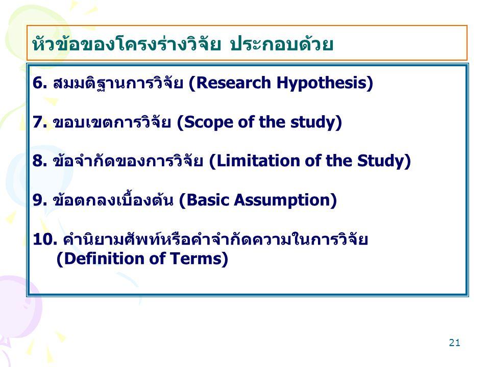 20 การเขียนโครงร่างวิจัย หัวข้อของโครงร่างวิจัย ประกอบด้วย 1. ชื่อเรื่องวิจัย (Research Topic) 2. คำสำคัญ (Key Words)* 3. ความเป็นมาและความสำคัญของปัญ