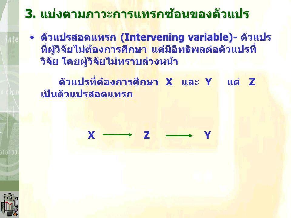 ตัวแปรแทรกซ้อน (Extraneous variable)-ตัวแปรแทรกซ้อน (Extraneous variable)- ตัวแปร ที่ผู้วิจัยไม่ต้องการศึกษา แต่มีอิทธิพลต่อตัวแปรที่ วิจัย โดยผู้วิจัยทราบล่วงหน้าและพยายามควบคุม Ex.
