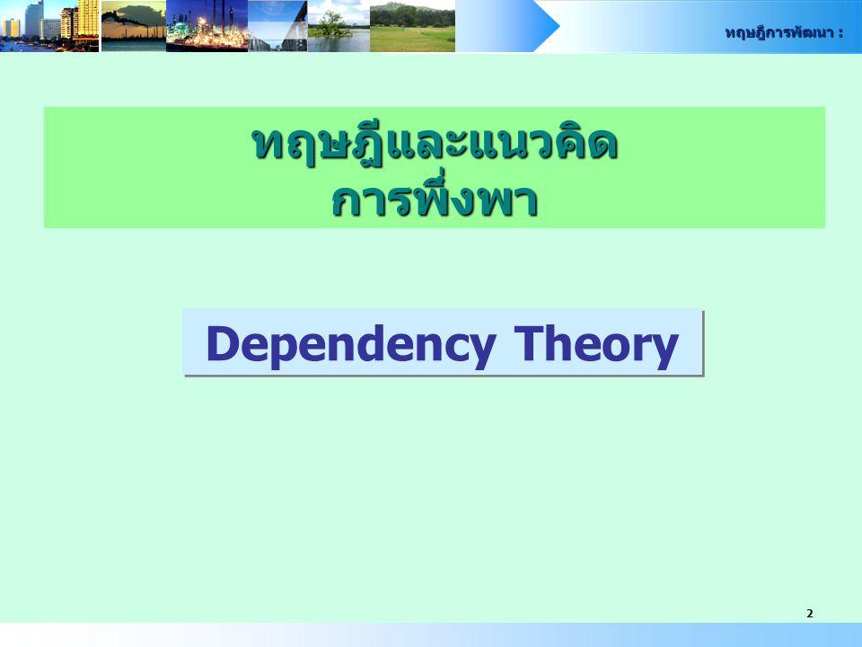 ทฤษฎีการพัฒนา : 3 แนวความคิดและทฤษฎีที่พยายามตอบโต้และ ปฏิเสธข้อเสนอหลักของทฤษฎีภาวะทันสมัย อาศัย : - แนวความคิดเศรษฐกิจการเมือง (Political Economic) - แนวความคิดประวัติศาสตร์เศรษฐกิจ (Historical Economy) Paradigm (กระบวนทัศน์/แนวคิด) การปฎิรูปการจัดระบบสังคมใหม่