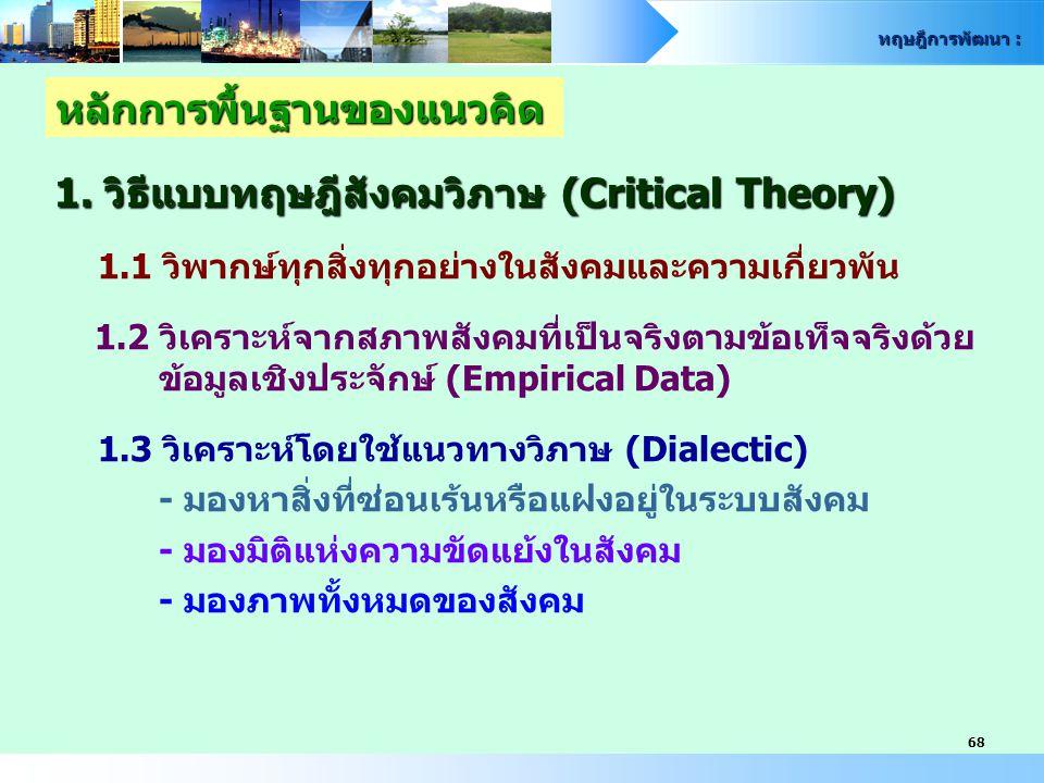 ทฤษฎีการพัฒนา : 68 1. วิธีแบบทฤษฎีสังคมวิภาษ (Critical Theory) 1.1 วิพากษ์ทุกสิ่งทุกอย่างในสังคมและความเกี่ยวพัน 1.2 วิเคราะห์จากสภาพสังคมที่เป็นจริงต