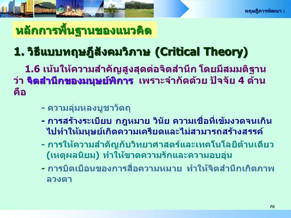 ทฤษฎีการพัฒนา : 70 หลักการพื้นฐานของแนวคิด 1. วิธีแบบทฤษฎีสังคมวิภาษ (Critical Theory) 1.6 เน้นให้ความสำคัญสูงสุดต่อจิตสำนึก โดยมีสมมติฐาน จิตสำนึกของ