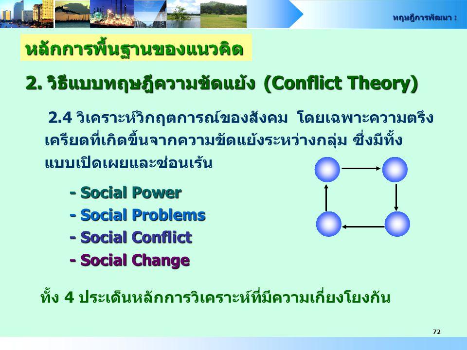 ทฤษฎีการพัฒนา : 72 หลักการพื้นฐานของแนวคิด 2. วิธีแบบทฤษฎีความขัดแย้ง (Conflict Theory) 2.4 วิเคราะห์วิกฤตการณ์ของสังคม โดยเฉพาะความตรึง เครียดที่เกิด