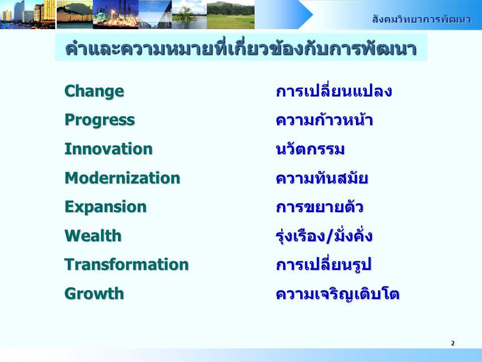 สังคมวิทยาการพัฒนา 2 คำและความหมายที่เกี่ยวข้องกับการพัฒนา Change Changeการเปลี่ยนแปลง Progressความก้าวหน้า Innovationนวัตกรรม Modernizationความทันสมัย Expansionการขยายตัว Wealthรุ่งเรือง/มั่งคั่ง Transformationการเปลี่ยนรูป Growthความเจริญเติบโต
