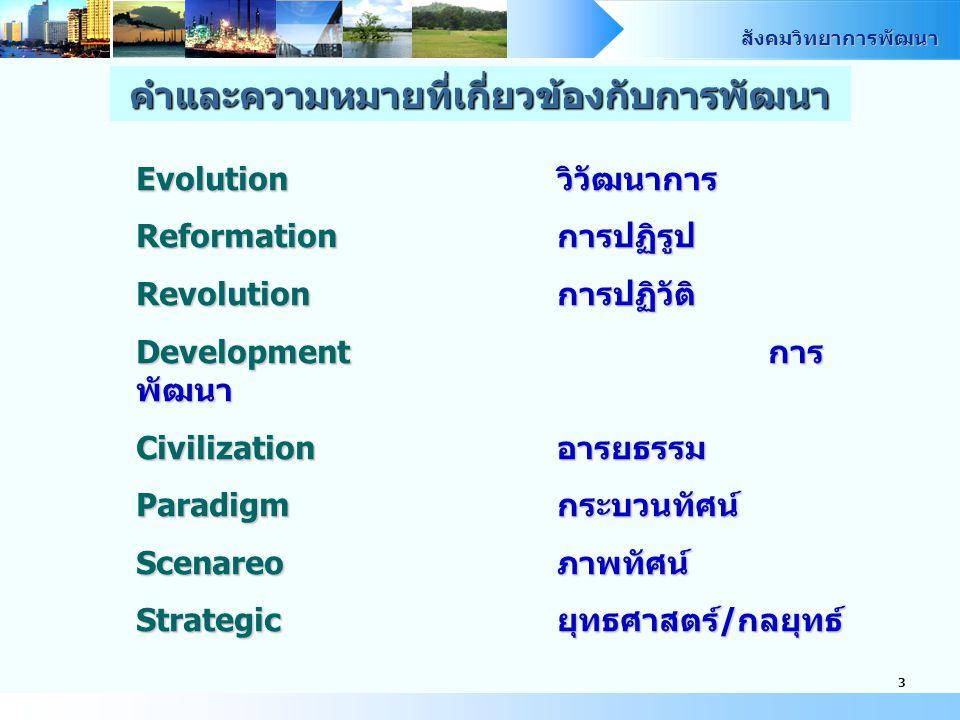สังคมวิทยาการพัฒนา 3 Evolutionวิวัฒนาการ Reformationการปฏิรูป Revolutionการปฏิวัติ Developmentการ พัฒนา Civilizationอารยธรรม Paradigmกระบวนทัศน์ Scenareoภาพทัศน์ Strategicยุทธศาสตร์/กลยุทธ์ คำและความหมายที่เกี่ยวข้องกับการพัฒนา