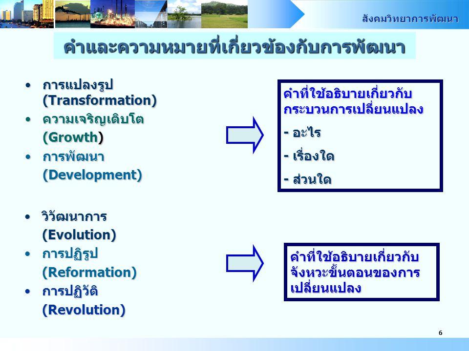 สังคมวิทยาการพัฒนา 6 การแปลงรูป (Transformation)การแปลงรูป (Transformation) ความเจริญเติบโตความเจริญเติบโต (Growth) การพัฒนาการพัฒนา (Development) คำที่ใช้อธิบายเกี่ยวกับ กระบวนการเปลี่ยนแปลง - อะไร - เรื่องใด - ส่วนใด วิวัฒนาการวิวัฒนาการ (Evolution) การปฏิรูปการปฏิรูป (Reformation) การปฏิวัติการปฏิวัติ (Revolution) คำที่ใช้อธิบายเกี่ยวกับ จังหวะขั้นตอนของการ เปลี่ยนแปลง คำและความหมายที่เกี่ยวข้องกับการพัฒนา
