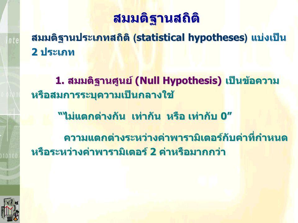 """สมมติฐานประเภทสถิติ (statistical hypotheses) แบ่งเป็น 2 ประเภท 1. สมมติฐานศูนย์ (Null Hypothesis) เป็นข้อความ หรือสมการระบุความเป็นกลางใช้ """"ไม่แตกต่าง"""