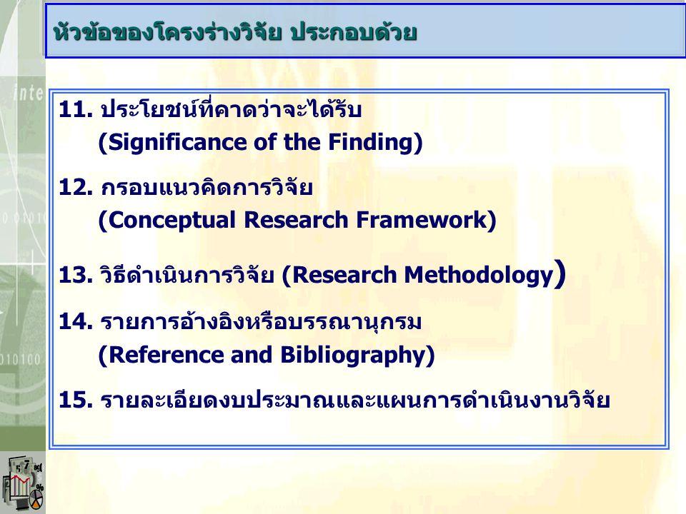 11. ประโยชน์ที่คาดว่าจะได้รับ (Significance of the Finding) 12. กรอบแนวคิดการวิจัย (Conceptual Research Framework) 13. วิธีดำเนินการวิจัย (Research Me